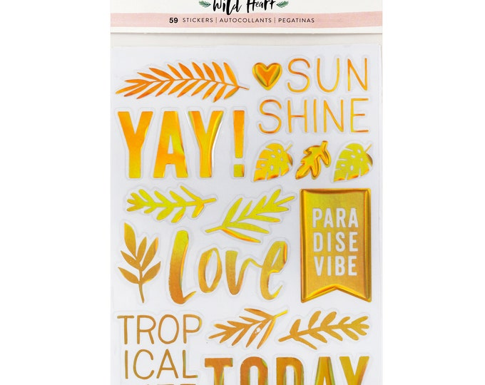 Wild heart by crate paper clear foiled stickers