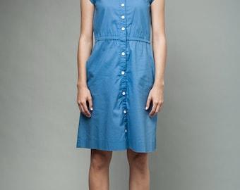 "vintage 70s safari dress blue cap sleeves S (34"" bust) - Small"