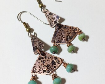 Etched Copper Earrings with Czech Glass Beads - Free Domestic Shipping
