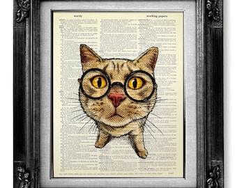 Cat Art Print, Geekery Decor HIPSTER Art, Nerd Art GEEK Wall Art, Geeky Poster Nerdy Decor, College Dorm Decor OFFICE Art, Funny Cat Glasses