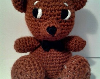 Crochet brown bear and his bowtie #19