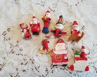 Vintage Set of 8 Enamel Painted Wood Santa Christmas Ornaments