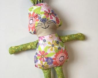 Patchwork Bunny Rabbit Stuffed Animal Plush Doll Premium Fabrics