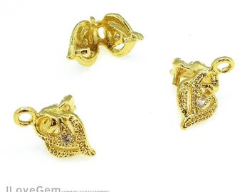 4pcs, NP-1979 Gold, Rose Flower Pinch Bails, Ice pick with top loop