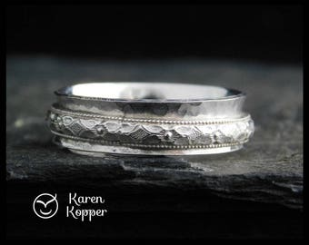 Sterling silver spinner ring, floral pattern. Fidget ring, meditation ring. Wedding band. Made to order at your size.