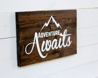 Adventure Awaits Rustic Wall Sign | Follow Your Arrow | Entryway Decor | Mountain | Wall Decor | Boho Chic Decor | Gift Under 25