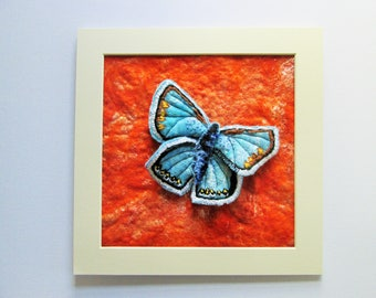 textile butterfly picture, felt art, blue felt butterfly, matted to frame