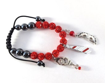 Fifty shades of Grey red rhinestone bracelet and charms mask, tie and handcuffs