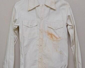 30 Percent OFF SALE Vintage 1950-60s men's white button up work shirt/ 50-60s men's work shirt