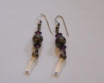 Vintage handmade rose earrings