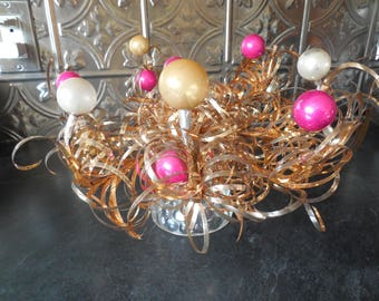 Sparkly Mercury Glass Bulbs and Tinsel Holiday Centerpiece....Wreath Vintage