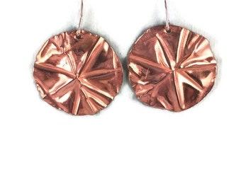 Fold formed copper disc earrings