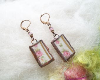 Broken China Earrings Small Delicate Minimal Rose Pink Floral Earrings Recycled Glass Upcycled Dishes Cups Copper Bezel Mosaic Earrings