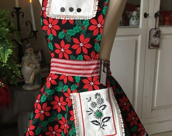 Womens Christmas Apron, Upcycled , Poinsettia , Black, Red, Green, Full Circle Skirt, Reversible , The Vintage Millie