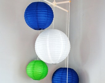 Navy and Spring Green Paper Lantern Mobile