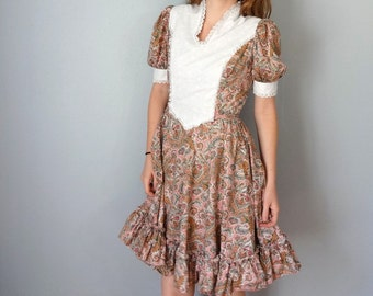 Vintage DANCING Dress • 1970s Women Clothing • Paisley Floral Print Cotton Short Sleeve Ruffle Circle Skirt Prairie Dress • Small Medium