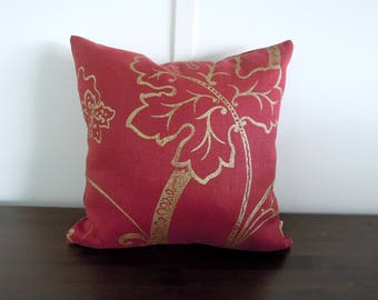 Linen Pillow Cover, Red and Gold, Floral, Metallic Pillow, Decorative Pillow, 18x18, Red Linen Pillow
