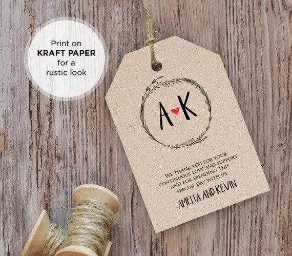 rustic wedding tag template favor tag guest bag thank you