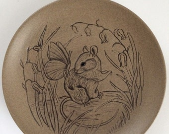 13cm Poole  Pottery - Stoneware - Wildlife plate mouse/butterfly design by Barbara Linley Adams