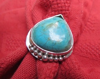 Big Natural Turquoise Triangle in Granulated Sterling Ring Size 10 and a Half
