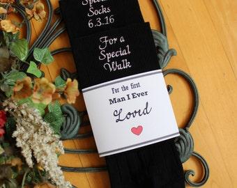 Father of the Bride Gift, Dad Wedding socks, Special Socks for a Special Walk,Monogrammed Socks, dress socks,First man I LOVED. F23LB7