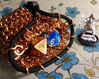 Copper chainmail dice/accessory pouch