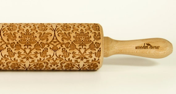 The Victorian Style Rolling Pin Engraved Rolling Pin Gift Rolling Pin Rolling PiN for Embossed Cookies Wooden Rolling pin