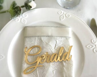 Wedding decorations etsy il laser cut names wedding place cards gold mirror table names acrylic wedding table decor event decoration junglespirit Choice Image