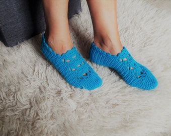 Hand crocheted wool slippers