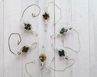 Star Pendulums with healing Crystals - FREE GIFT with EVERY purchase