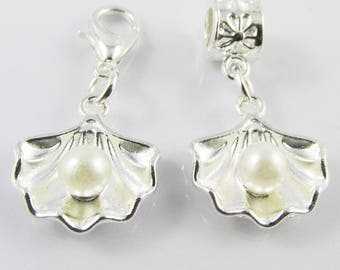 Seashell with Pearl Charm Select European Charm or Clip on Charm