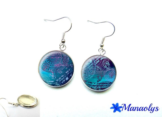 Blue and purple patterns 1510 glass cabochons earrings