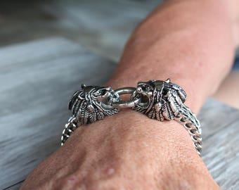 Stainless Steel Bracelet for Men , Lions Head Chain Bracelet , Chainmaille Bracelet Jewelry for Men