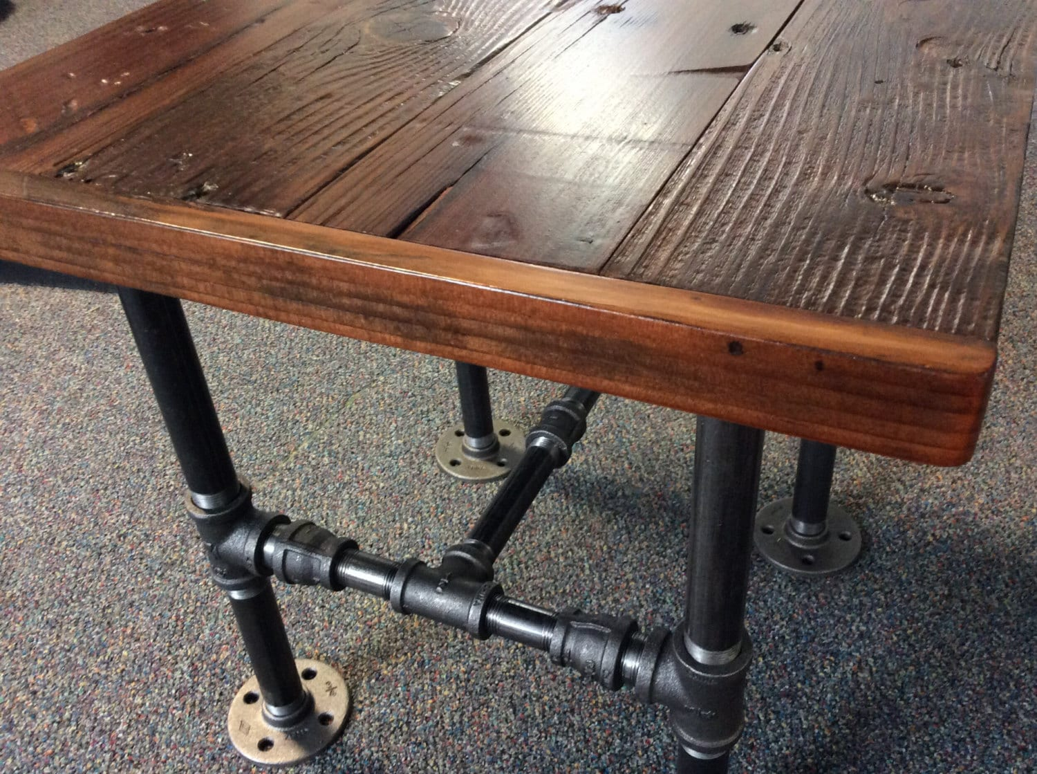 Awesome Industrial Square End Table With Reclaimed Wood And Black Pipe