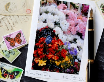 Flower Shop, Paris - Analog Greeting Card - Travel Photography - Any Occasion - Handmade