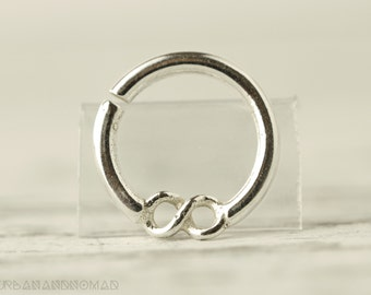 Septum Ring Piercing Nose Ring Body Jewelry Sterling Silver Bohemian Fashion Indian Style 14g - SE005R