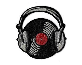 Music - Record - LP - Headphones - Rock & Roll - DJ - Iron On Applique Patch