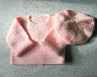 Set 3-6 month hand knit beret and baby jacket