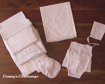 Luxury Romantic Christening English Broderie Set- Unisex Soft Baptismal Ladopana/Miropana-Embroidered Towels-Bibs- Greek Orthodox Baptism