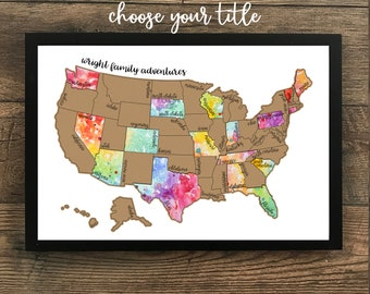 "Personalized Watercolor Scratch Off Map ""Been There Scratched That"" - United States of America (USA US) Map - Graduation Gift"
