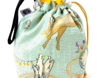 Sock Bag - Small Knitting Crochet Project Bag - Enchanted Universe
