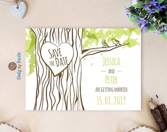 Forest Save the Date cards printed | Carved Heart Oak Tree Woodland Rustic Save the Date invitations | Personalized save the date cards