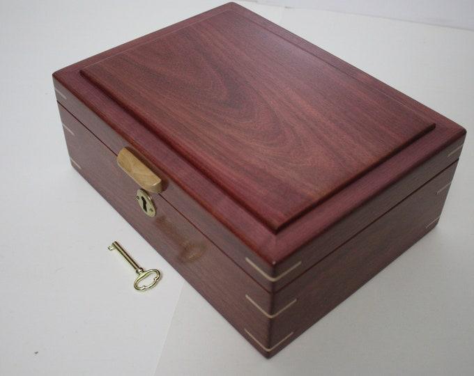Locking Handmade Purple Heart Wood Box. Valet Box, Keepsake Box, Gun Box, Secretary Box, Lift Out Tray, Adjustable, Removable Dividers
