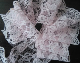 Vintage wide pale pink lace sheer trim  2 YRDS