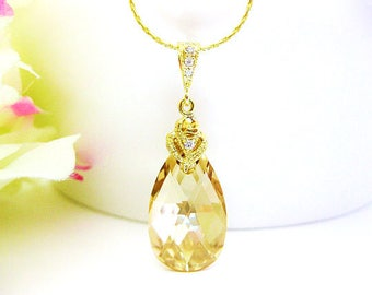 Swarovski Golden Shadow Teardrop Necklace Champagne Teardrop Crystal Wedding Jewelry Bridal Necklace Bridesmaids Gift Gold Necklace (N006)