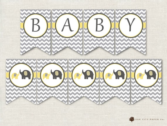 Yellow And Grey Elephant Baby Shower Decorations Yellow And