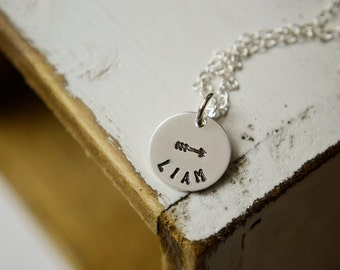 Custom Name Jewelry | Hand Stamped | Sterling Silver | Personalized Arrow, Crossed Arrows, Ribbon, Infinity, Cross, Star, Heart, Horseshoe