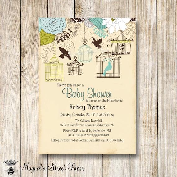 Bird Cage Baby Shower Invitation Bird Baby Shower Invite