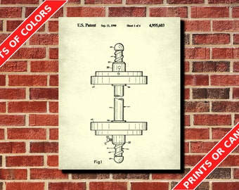 Weight Lifting Poster Dumbbell Lock Patent Print Gym Patent Weights Blueprint Training Decor Gym Wall Art Fitness Poster