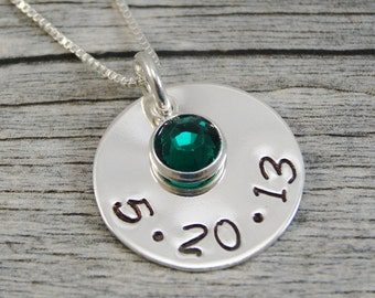 Hand Stamped Jewelry - Personalized Jewelry - Mom Necklace - Sterling Silver Necklace - One Date One Birthstone